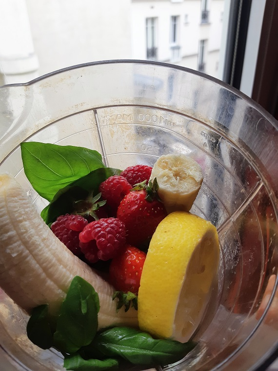 Of a #smoothie in a #hotel room or basil with lemon