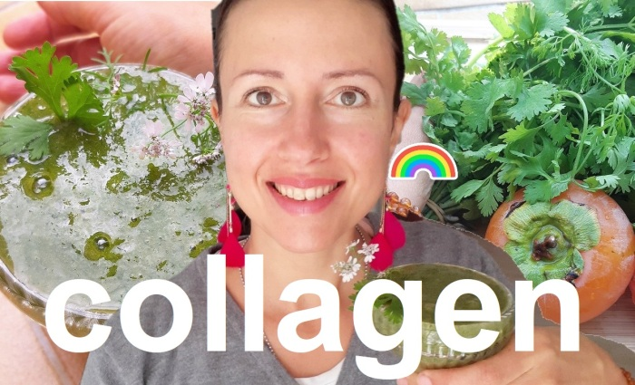 #Natural #collagen in a #smoothie with Sharon's fruits and cilantro
